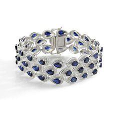 sapphire and diamond bracelet   Pear Shaped Blue sapphire and Diamond Bracelet Set in 14k White Gold