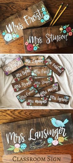 These last name signs are the perfect back to school gift for your favorite teacher! Teacher Name Sign, Custom Name Sign, Teacher Gift, Last Name Sign, painted Wood Sign, Classroom Sign, Classroom Decor, Wood Teacher Sign #ad