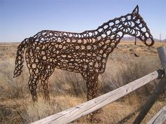 Horse made of horseshoes