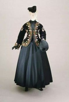 1860's skating outfit. Open zouave jacket with elaborate embroidery.