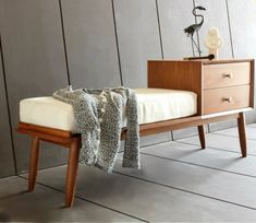 Mid Century Upholstery Bench/ Seating/ Handmade/ Custom made Handmade entryway bench in beech wood This piece of furniture is handled with care from the beginni Cool Furniture, Furniture Design, Custom Furniture, Bench With Storage, Upholstered Bench, Baskets On Wall, Mid Century Furniture, Entryway Bench, Entryway Ideas
