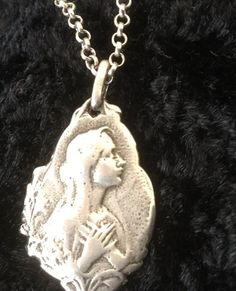 Mary Necklace Sterling Silver Blessed Mother Medal by Ivanwerks Oxidized Silver, Sterling Silver Jewelry, Mother Jewelry, Catholic Jewelry, Blessed Mother, Women Jewelry, Unique Jewelry, Silver Charms, Artisan