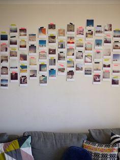 Foto su parete - Foto applicate con pezzetti di washi tape.