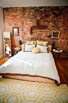 This exposed brick wall is wallpaper would you believe? #wallpaper  Such a great idea, I'm going to miss having a brick wall in the house.