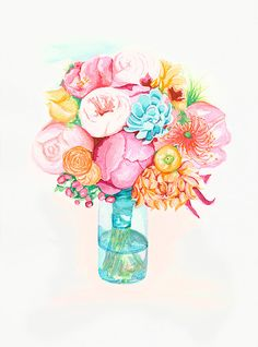 flowers watercolor PRINT  -  artwork - coral - turquoise - pink - yellow - bouquet - nursery - office