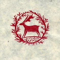celia heart, woodcut, lino cut, print, printmaking, illustration, design, deer, wreath, christmas card