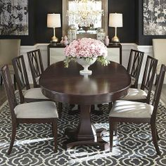 oval dining room table presidio oval dining table by bassett furniture contemporary-dining-room TQNMEQQ - Home Decor Ideas Double Pedestal Dining Table, Wooden Dining Tables, Dining Table Design, Round Dining Table, Dining Room Table, Dining Rooms, Oval Table, Kitchen Tables, Dining Set