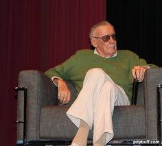 Stan Lee during book signing event of 75 Years of Marvel