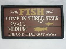 Fish Sizes Funny Hanging Wood Wall Art Plaque Sign Camping Summer Cabin Decor
