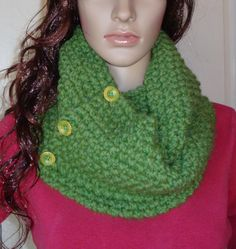 Unisex Chunky Green Grass color Infinity Scarf by LolasWonders