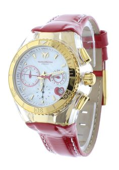 41be8764eed Technomarine TM-117003 Women s Red Valentine Watch 14K Gold-Tone PVD Coated  Japan Chronograph