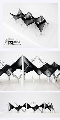 Folding Architecture, Factory Architecture, Parametric Architecture, Architecture Concept Drawings, Parametric Design, Architecture Design, Membrane Structure, Tensile Structures, Public Space Design