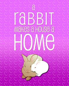 A rabbit makes a house a home  pink 8x10 Print by ByrdManorStudios, $10.00