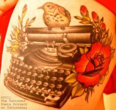 vintage typewriter with bird Vintage Typewriters, Flower Tattoos, Tattoo Inspiration, Cool Tattoos, Pretty, Desserts, Tattoo Ideas, Image, Food
