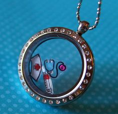 Nursing RN Floating Charms - Nurse Cap, Syringe, Stethoscope - Doctor, RX, Healthcare Theme- Fit Origami Owl and Glass Living Memory Lockets on Etsy, $10.00