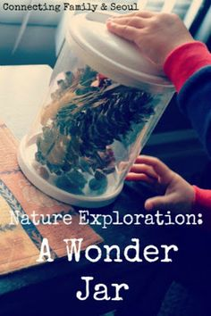 A wonder jar filled with little wonders collected during a vacation or on a hike. As long as not depleting the environment is a part of the lesson. ~ET