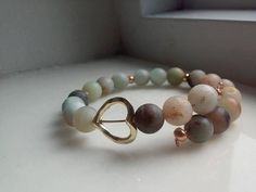 Simple Womens Amazonite Gold Heart Bead Bracelet Matte bead