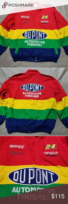 """Jeff Gordon Du Pont Nascar Jacket Excellent condition, vintage Jeff Gordon """"rainbow"""" jacket by Chase Authentics. The exterior and interior lining are made from 100% cotton. The jacket is in excellent condition with no rips, tears, stains, or fading. It is a size L. Zippered closure with snap buttons as shown. The zipper and snaps work with no problems. The jacket has been worn but not worn out and shows no signs of wear. The coloration is bright and the whites are clean. Chase Authentics…"""