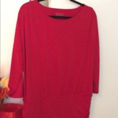 """Chico's Red Draping Blouse Bright red blouse that drapes over wide waist band. Ruching at waist & shoulder is slimming. Polyester; Mach washable; no iron; 3 1/4"""" sleeve. Chico's size 2. Chico's Tops Blouses"""