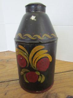 Tole Painted Tin Tea Caddy/Spice Caddy