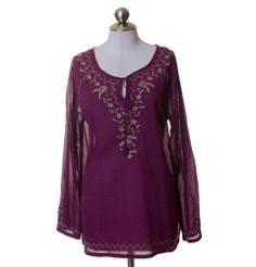 Eddie Bauer Purple Taupe Embroidered Cotton Peasant Tunic Blouse Size L