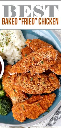 """seriously the BEST Baked """"fried"""" chicken! Crispy chicken marinated in spiced buttermilk then breaded with flour, panko, cornmeal and spices then baked in a little butter -tastes better than KFC without the grease and guilt! #KFCchicken #bakedfriedchicken #friedchicken"""