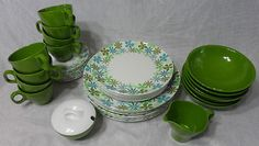 Proud new owner of these vintage Boonton Ware Somerset Melmac Aqua Green Daisy Dishes