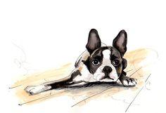 Boston Terrier von longbluestraw auf Etsy, $16.00