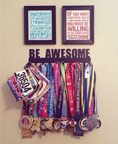 I need a way to display my medals that's not too over the top. Trophy Display, Award Display, Display Medals, Race Bib Display, Race Medal Displays, Display Wall, Run Disney, Running Medals, Race Bibs