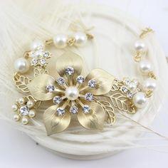Bridal Bracelet Russian Gold  Pearl and rhinestone by LuluSplendor