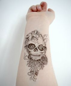 Temporary Tattoo Skull Floral Butterfly Flower Leafs by Siideways