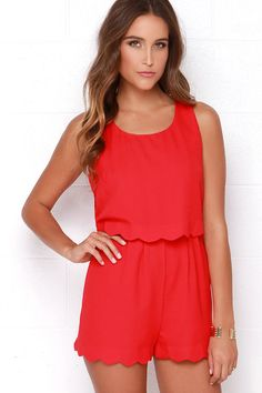 Ahead of the Curves Scalloped Red Romper at Lulus