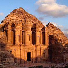 In Jordan: Petra's Monastery during golden hour