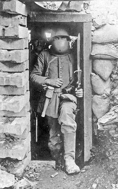 Imperial German soldier in the trenches of World War 1.