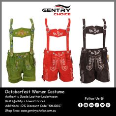 ✔️Top Quality Authentic Leather Oktoberfest Costumes Bavarian Lederhosens for Women - Australia ✔️High Quality, Fast Delivery and Reasonable Price Leather Suspenders, Leather Shorts, Suede Leather, Kevlar Jeans, Scottish Clothing, Oktoberfest Costume, Motorcycle Outfit, Costumes For Women