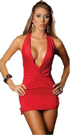Amazon.com: HUASHI Deep V Neck Bare Breast Backless Packet Hip Temptation Red Sexy Lingerie Nightclub Pole Dancing Dress: Clothing