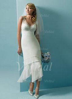 Forme Princesse Col V Longueur mollet Mousseline Tulle Robe de mariée avec Dentelle Emperler Sequins (00205001902)