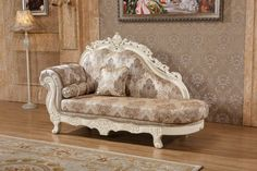 https://www.theclassyhome.comSerena Pearl White Fabric Solid Wood Hand Carved Designs Chaise