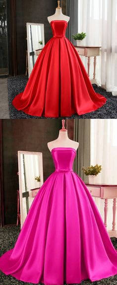 Vintage Strapless Sweep Train Red Prom Dress with Bow Pleats