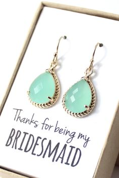 Beautiful mint bridesmaid earrings!