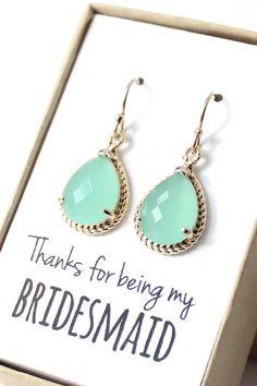 Beautiful mint bridesmaid earrings!