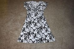 Chico's Floral Polyester Spandex Cris Cross Front Dress Black White 2 Large L #Chicos #Tunic #WeartoWork