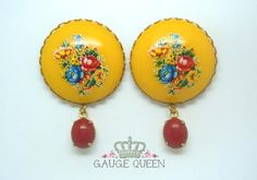 """Vintage Yellow Floral Dangle Plugs - 2g (6.5mm) through 1"""" (25mm)"""