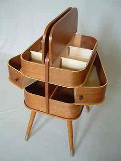 1950s sewing box storage 60s 70s mid century modern Danish teak vintage retro