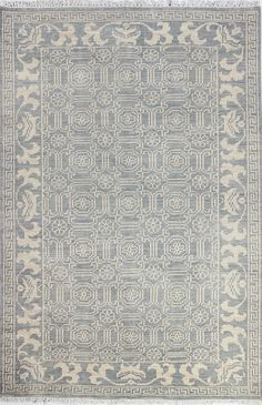Bashian Rugs: A154-AR104 SLATE handmade area rug with a vintage pattern. The graceful striations and signs of wear create a stunning antique finish.
