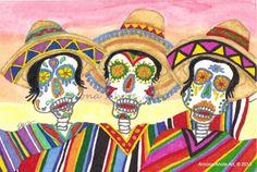 Original Watercolor Painting Dia de Los Muertos The Tres Amigos 4x6   | ArizonaAhoteArt - Folk Art & Primitives on ArtFi