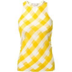 Stella Mccartney Striped Cotton Tank Top ($510) ❤ liked on Polyvore featuring tops, shirts, tank tops, tanks, stripe tank top, stripe shirt, stella mccartney, yellow shirt and striped shirt