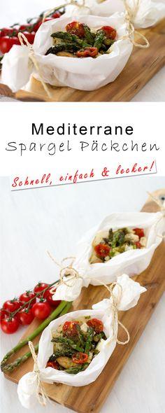 Mediterrane Spargel Päckchen mit Feta und Tomate