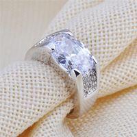 Tamanho 6 - 12 branco Sapphire Vintage jóias homens / mulheres Anel de prata Anel anéis Wedding Band branco CZ Gold Filled anéis de noivado