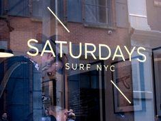 Saturdays Surf NYC. Window. Lettering Fonts Design, Typography, Soho Restaurants, Surf Store, Saturday Images, Saturdays Surf, Window Signage, Remo, West Village